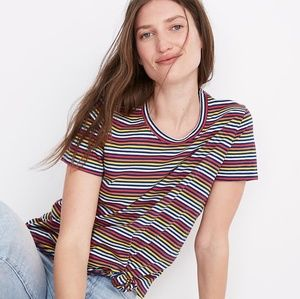 Madewell knot-front tee in rainbow stripe
